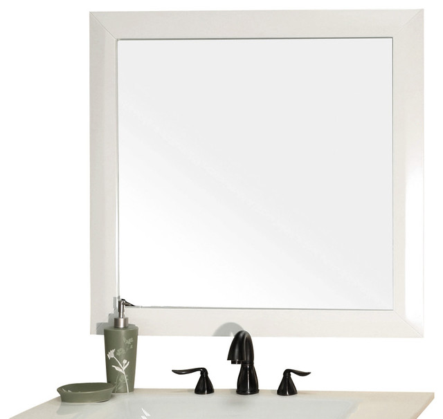 Solid Wood Frame Mirror White Modern Bathroom Mirrors By Corbel Universe