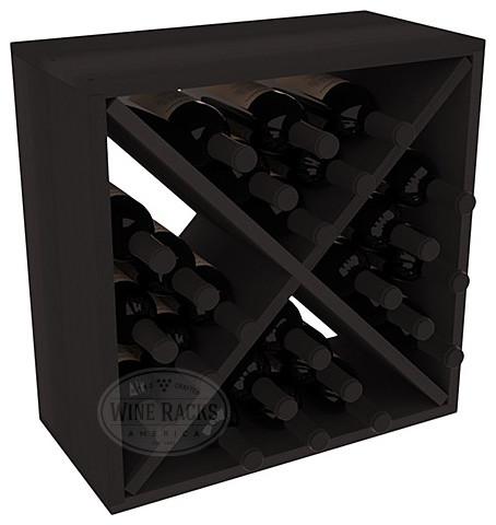 24 Bottle Wine Storage Cube in Premium Redwood, Black Stain contemporary-wine-racks