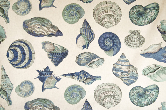 Seashell fabric nautilus sea glass green blue aqua beach style fabric