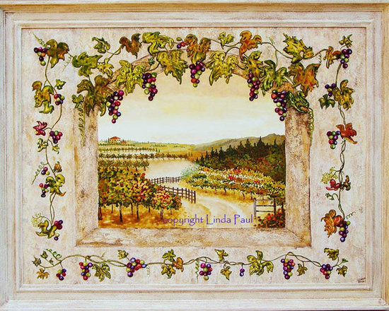 """Grapes n Vines Original Framed Painting by artist Linda Paul - artist Linda Paul  - Grapes and Vines Original Framed Egg Tempera Painting 45"""" x 35"""". This painting is framed in a beautiful fresco frame hand-painted by the artist to perfectly compliment the artwork."""