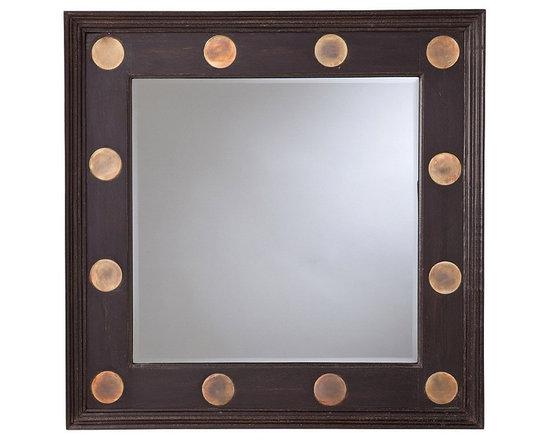Arteriors Wells Wood and IronMirror - Dark Walnut/Antique Brass/Beveled/Plain Mirror Material: mango wood, brass plated discs http://www.plumgoose.com/arteriors-wells-wood-and-iron-mirror.html