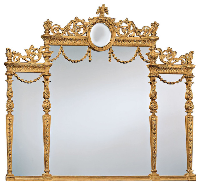 Adam style over mantel mirror traditional wall mirrors for Adam style mirror