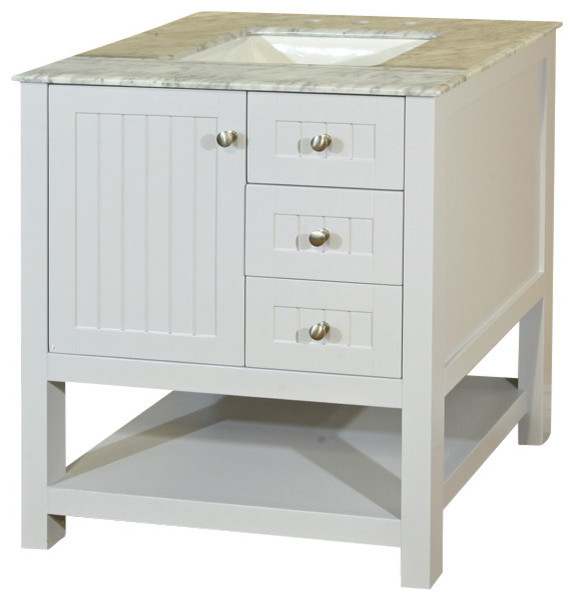 29 Inch Single Sink Vanity Wood White Cabinet ly Farmhouse Bathroom Van