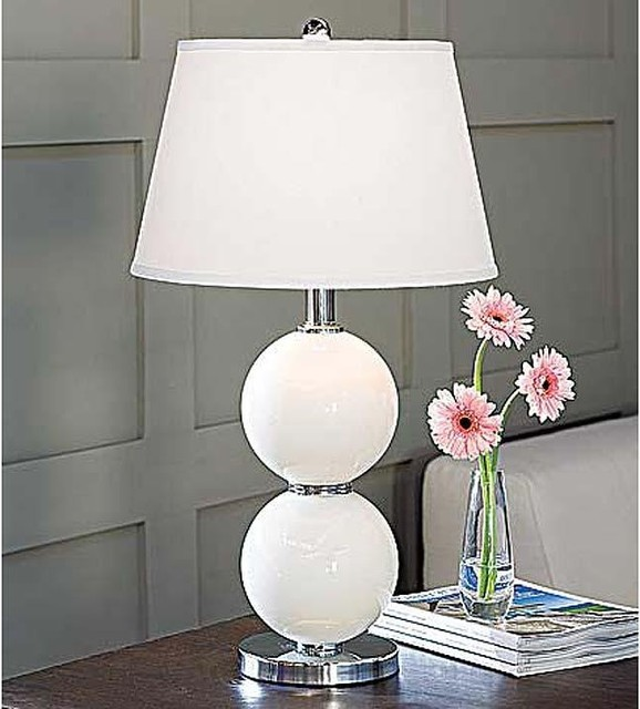 Regina Andrew White Glass Balls Table Lamp with Crystal Base traditional-table-lamps