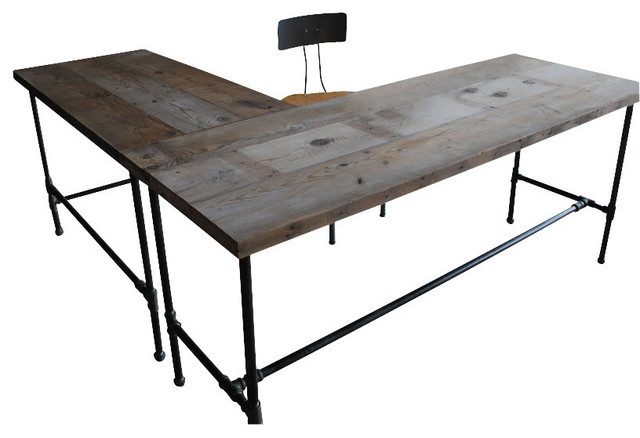 Modern Industry L Shape Reclaimed Wood Desk Natural