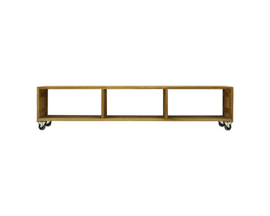 ORANGERIE Low Rack - I love the versatility of this teak bench. It looks great, provides storage, and can be rolled around to go where you need it to.