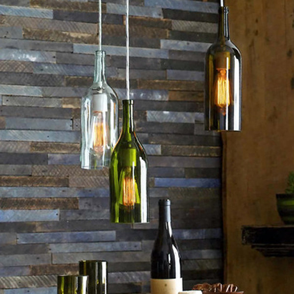 Recycled wine bottle pendant lamp industrial pendant lighting atlanta by iron accents - Wine bottle pendant light ...