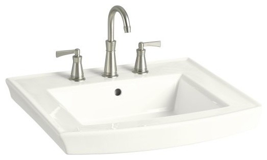 KOHLER K-2358-1-0 Archer Pedestal Bathroom Sink with Single Faucet Hole contemporary-bathroom-sinks