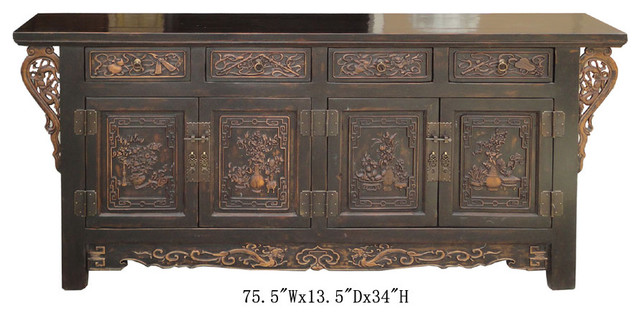 Chinese CaoZhou Antique Flower Vase Dragon Carving Buffet Table Cabinet asian-side-tables-and-end-tables