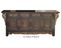 Chinese CaoZhou Antique Flower Vase Dragon Carving Buffet Table Cabinet asian side tables and accent tables