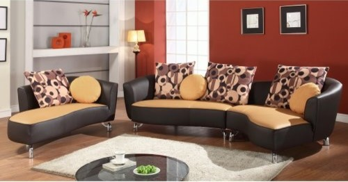 Chintaly Albany Camel Leather Sectional Sofa with Accent Pillows