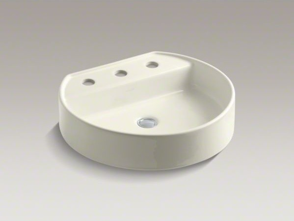 "KOHLER Chord(R) Wading Pool(R) bathroom sink with 8"" widespread faucet holes contemporary-bathroom-sinks"