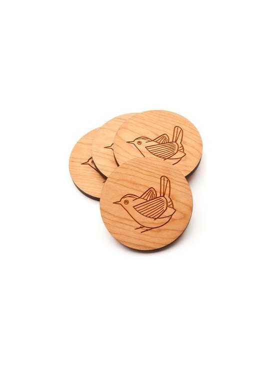 Beehive Wren Coaster Set - The set of four Wren Coaster's by Beehive are made from Cherry wood and engraved with an adorable wren.