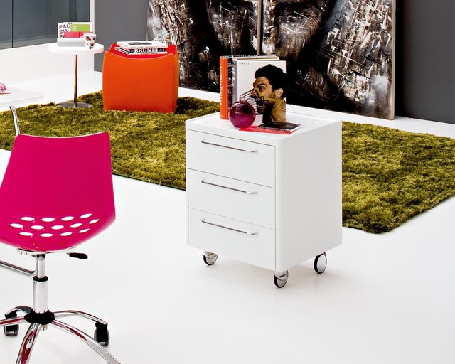 Home office with Calligaris Trailer Office Pedestal modern-home-office