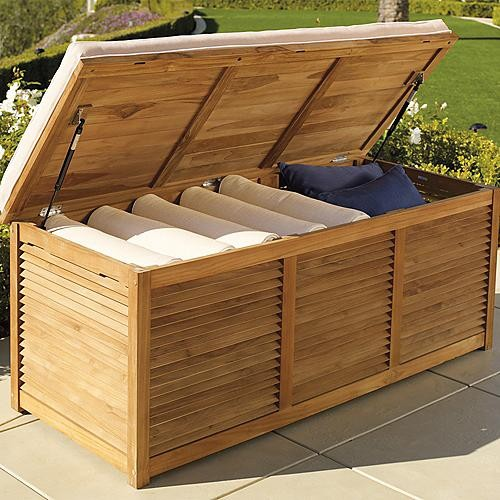 Louvered teak trunk frontgate traditional storage bins and boxes by frontgate Storage bench outdoor