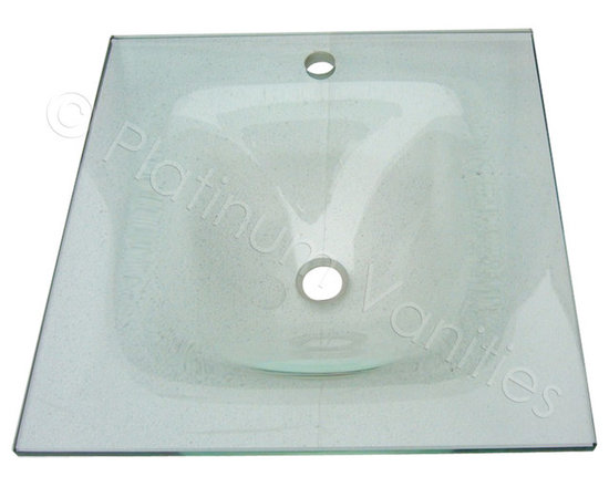 "30.5"" Wide Clear Contemporary Modern Glass Countertop and Integrated Sink -"