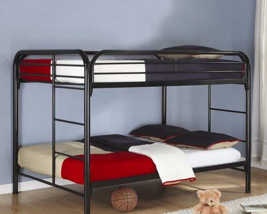 Full over Full Bunk Bed in Black - The metal bunk bed with fun space saving design. The contemporary style and sleek black finish will match a variety of household decors.