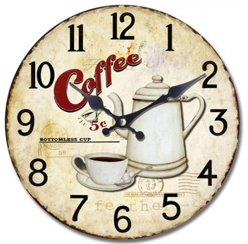 13.5 in. Circular Wooden Wall Clock with bottomless coffee print contemporary-wall-clocks