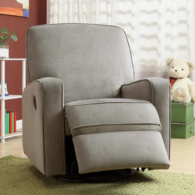 Gray fabric modern nursery swivel glider recliner chair contemporary