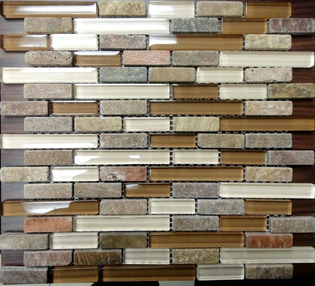 Glass stone mosaic on sale traditional tile other for Traditional kitchen wall tiles