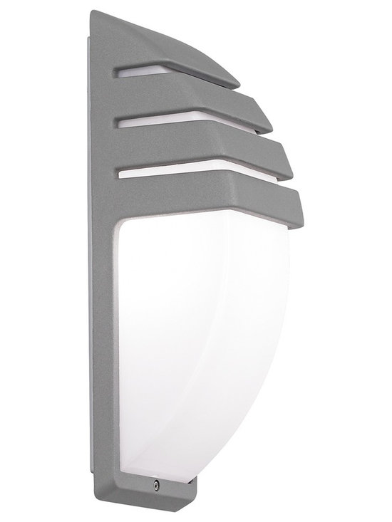 """Possini Euro Design - Matte Silver Contemporary Wall Light - A semi-circle opal acrylic diffuser sits beneath the decorative matte silver slatted housing in this fantastic wall light. The contemporary look is perfect for indoor spaces or for garages. From the Possini Euro Design outdoor lighting collection. Die-cast aluminum construction. Matte silver finish. Opal acrylic diffuser. Takes one 60 watt bulb (not included). 13 3/4"""" high. 4 3/4"""" wide. Extends 4 3/4"""" from the wall.  Die-cast aluminum construction.  Matte silver finish.   Opal acrylic diffuser.   Takes one 60 watt bulb (not included).   13 3/4"""" high.   4 3/4"""" wide.    Extends 4 3/4"""" from the wall."""