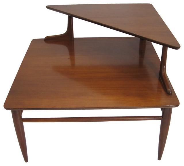 Two Tier Mid Century Side Corner Table Midcentury