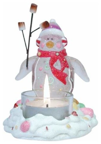 3.75 Inch North Pole Winter Penguin Figurine Barbequing Tea Light midcentury-candles-and-candleholders