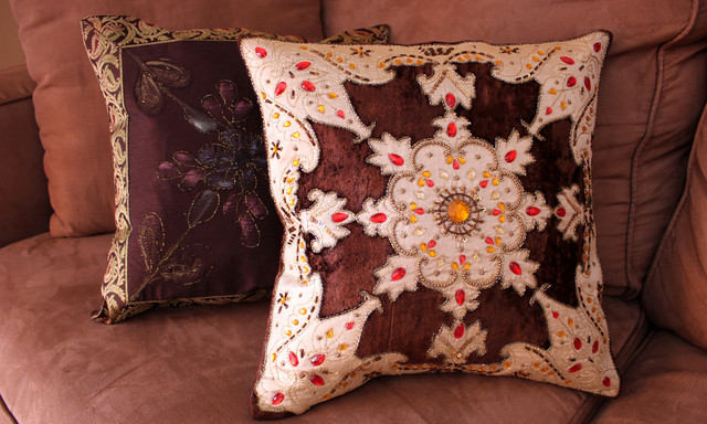 Fun Decorative Throw Pillows : Fun Decorative Pillow Combinations - Asian - Decorative Pillows - boston - by Banarsi Designs