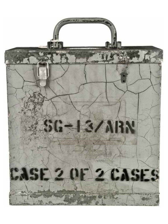 Military Signal Generator Case - These heavy-duty cases were used by the military to transport and store signal generators.Each one has a unique character and distressed painted finish. Top handle and two clip latches. Rubber feet.