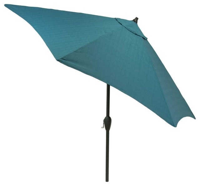 Hampton Bay Patio Umbrellas 9 ft. Aluminum Patio Market Umbrella in Teal Solid - Contemporary ...