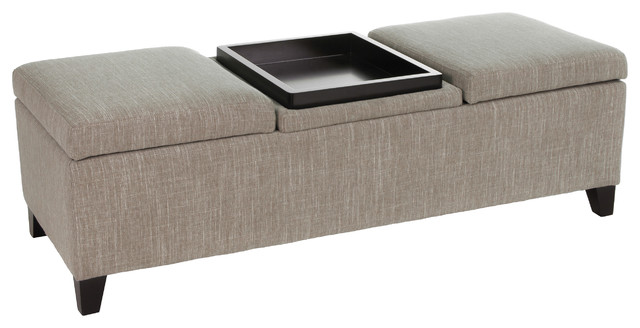 Ecatro Storage Ottoman With Center Coffee Table Tray Contemporary Footstools And Ottomans