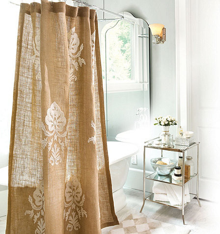 Burlap Crewel Damask Shower Curtain Traditional Shower Curtains By Ballard Designs