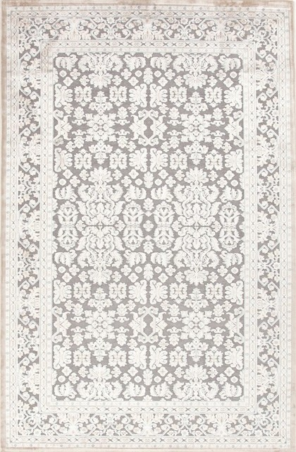 "Transitional Fables 5'x7'6"" Rectangle Gray-Gray Area Rug transitional-rugs"
