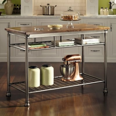 Home Styles Orleans Wire Rack Kitchen Island with Caramel Butcher Block Top modern-kitchen-islands-and-kitchen-carts