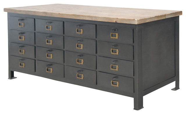 Gresham Metal 16 Drawer Chest - Eclectic - Filing Cabinets - by Masins Furniture