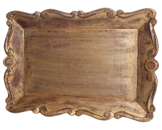 Abigails - Provence Scalloped Rectangle Serving Tray - This nice tray has an old world feel as most of the applied gold leafing has been removed. A nice scalloped wooden cornice surrounds the rim. Alcohol and water resistant.