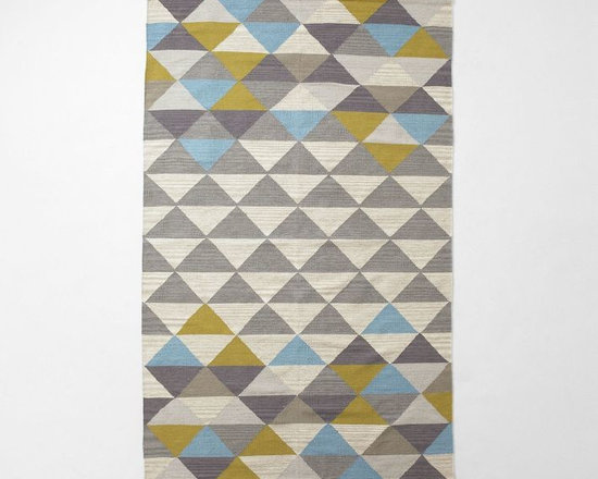 Sarah Campbell Mosaic Triangles Wool Dhurrie, Wave -