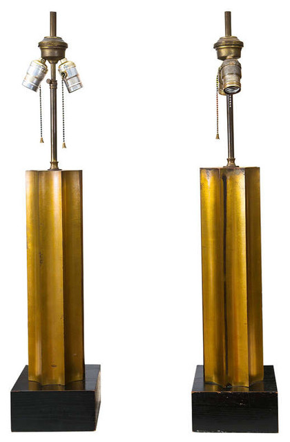 1940's/1950's Gilt Wood Lamp Pair modern-table-lamps
