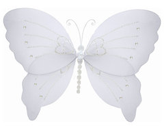 Hanging Butterfly Small White Crystal Nylon Butterflies Wall Ceiling Decorations traditional-nursery-decor