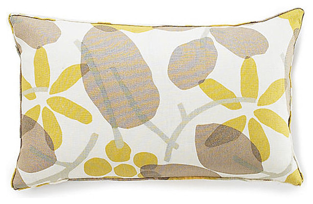 Light Brown Decorative Pillows : Bethy Floral Light Brown Linen Pillow - Contemporary - Decorative Pillows - by Jiti