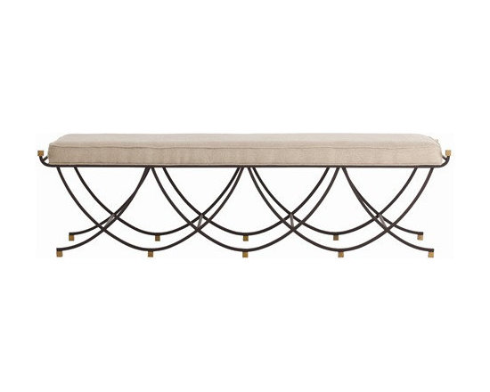 Arteriors Home - Arteriors Home Felice Iron/Brass/Linen Bench - Arteriors Home 6772 - You've been benched! And in a good way when you introduce this sleek, black iron bench with its upholstered linen cushion into your space. The scalloped edges soften the lines so it will enhance any decor. Add a couple of wonderful trays to its top and it becomes your cocktail table. Do nothing, and it's extra seating for your next party.