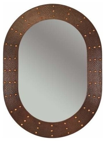 35 Oval Copper Mirror With Forged Rivets Rustic