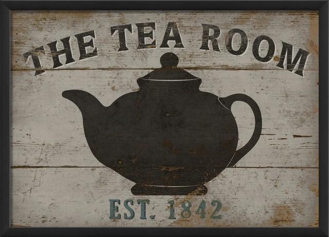 Vintage kitchen decor green - The Tea Room Sign Large Framed Sign Contemporary
