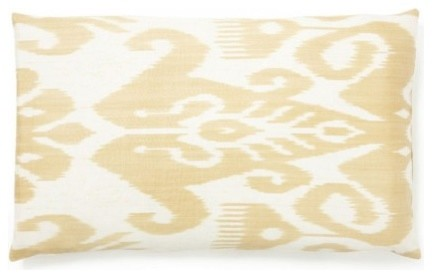 Yellow Silk Ikat Pillow contemporary-decorative-pillows