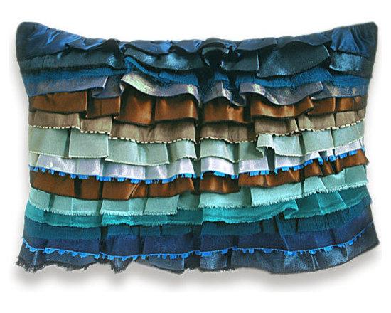 Rust Aqua Duck Egg Blue Teal Turquoise Bohemian Ruffle Pillow Case -