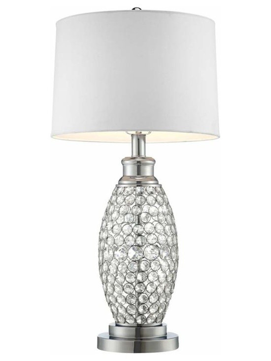 Possini Euro Beaded Crystal with White Shade Table Lamp -