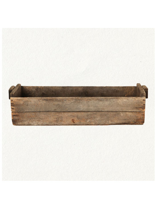 Vintage Grape Crate - My mother always had vintage boxes and crates around for planting in the summers. We could pick them up in droves at auctions all over New England. They look great and bring a very individualistic tone to annual flower planting. Have fun.