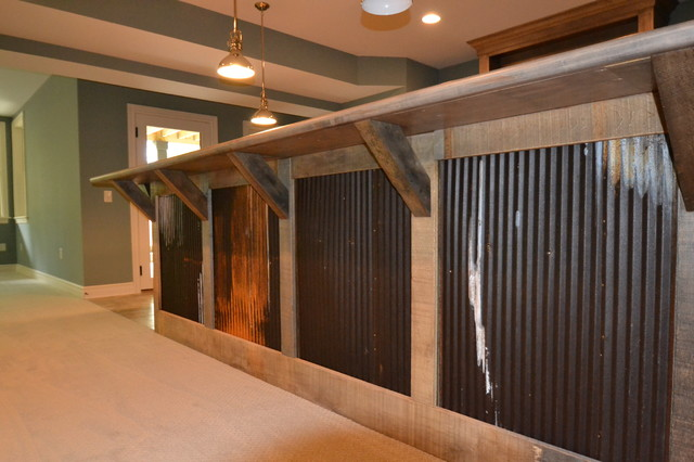 Custom residence in westfield 206 rustic basement indianapolis by hearth stone builders - Rustic basement bar designs ...