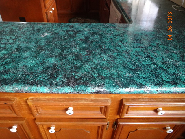 Kitchen countertops before and after houston by for Painting kitchen countertops before and after