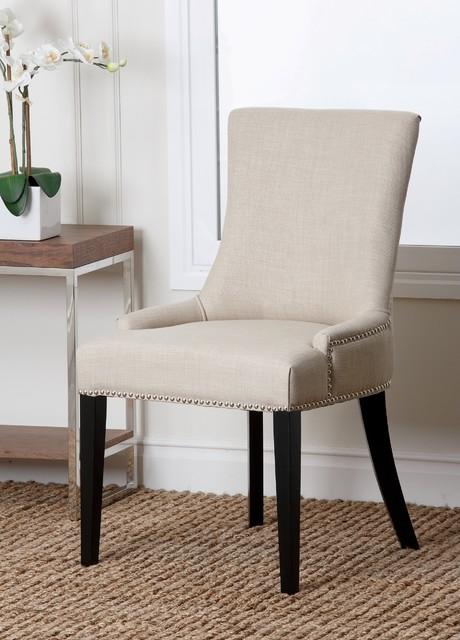 Abbyson Living Newport White Fabric Nailhead Trim Dining Chair Contemporary